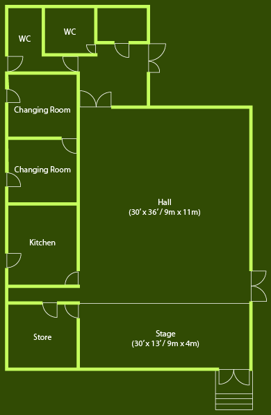 A Graphic floor plan of the Village Hall